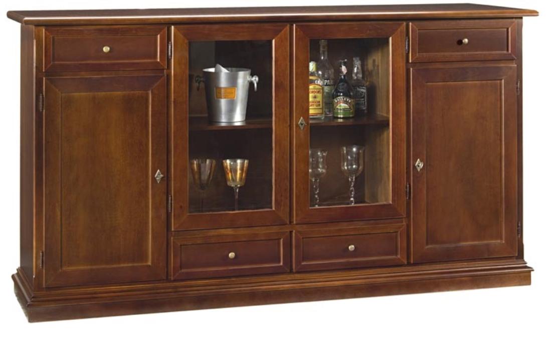 Art w 583 credenza ante vetro centrali mobile bar - Mobile porta liquori ...