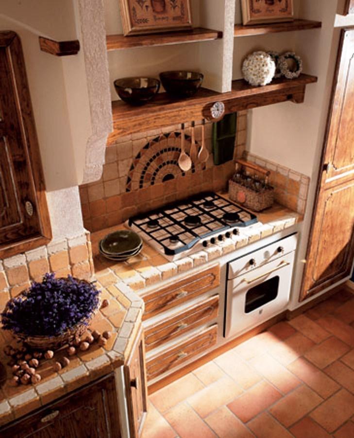 Cucina in muratura - Piastrelle rustiche per cucina ...