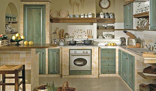 Cucina in muratura - Bagno verde salvia ...