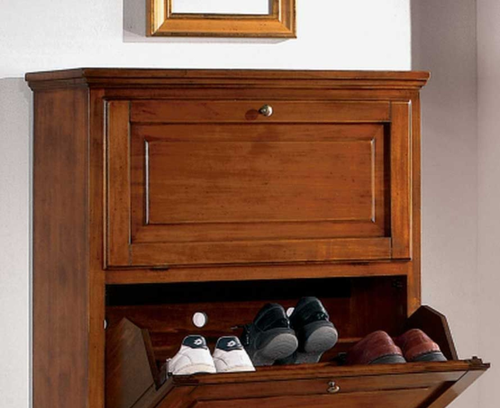 appendiabiti scarpiera arte povera : ART - W 219 - SCARPIERA LEGNO 3 RIBALTE